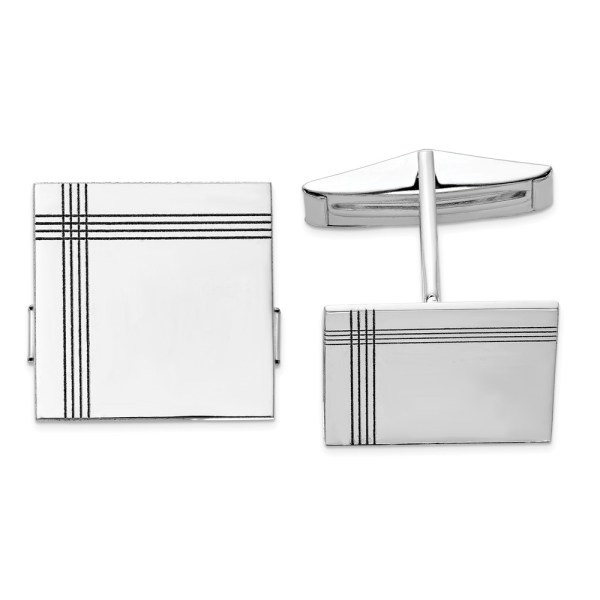 14 kt. white gold, rhodium plated, 17 mm X 17 mm square with a line design, cuff links with a polish finish