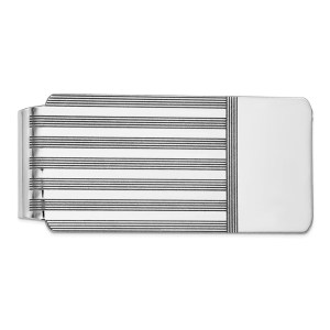 14 kt. white gold, 56 mm X 26 mm, rectangular, money clip, accented with a striped design and with a rhodium polished finish.
