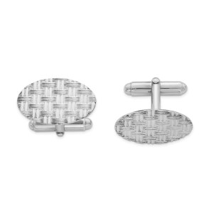 Sterling Silver, rhodium plated, 25 mm X 15 mm oval cuff links with a basket weave design and a polish finish.