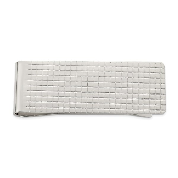 Sterling Silver, 51 mm X 20 mm, rectangular money clip with a textured, checked design with a polished finish.