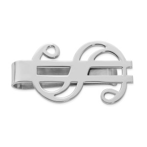 Sterling Silver, rhodium-plated, 45 mm X 25 mm dollar sign, money clip with a polished finish.