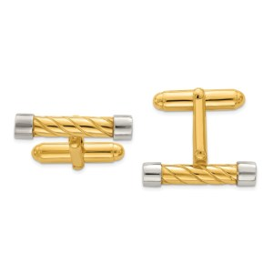Sterling Silver and Vermeil, textured, 23 mm X 6 mm bar cuff links with a polish finish.