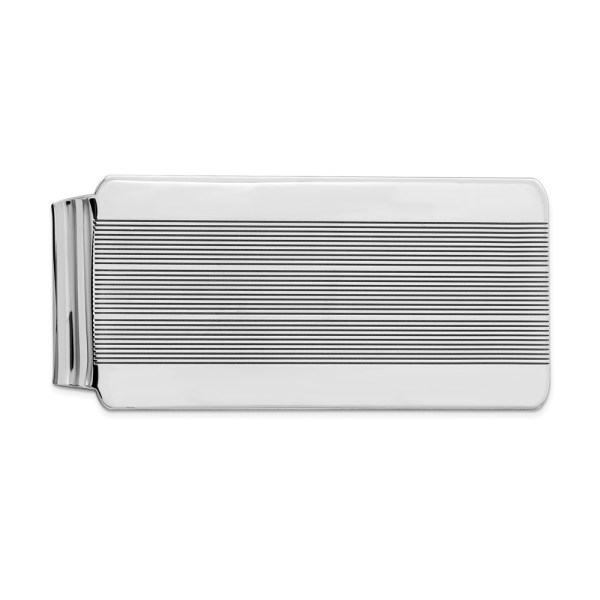 Sterling Silver, rhodium-plated, 55 mm X 26 mm, rectangular money clip, accented by three sets of horizontal stripes and with a polished finish.