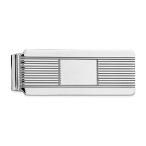 Sterling Silver, rhodium-plated, 52 mm X 19 mm, money clip, accented with horizontal stripes with a framed, centered, rectangle and with a polished finish