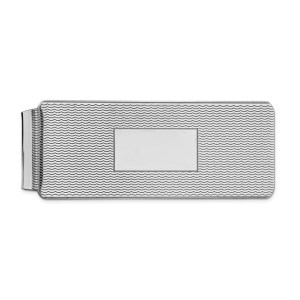 Sterling Silver, rhodium-plated, 53 mm X 18 mm, rectangular, scalloped, textured money clip with a center, framed box for engraving and with a polished finish.