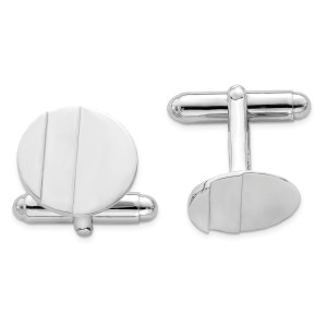 Sterling Silver, rhodium plated, 16 mm round, with a single recessed groove, cuff links with a polish finish