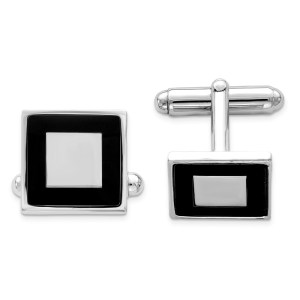 Sterling Silver, rhodium plated framed with black enamel trim, 20 mm X 20 mm square cuff links with a polish finish