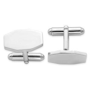 Sterling Silver, rhodium plated, 19 mm X 17 mm octagon cuff links with a polish finish