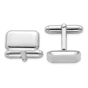 Sterling Silver, rhodium plated, 16 mm X 11mm retangular, cuff links with a beveled edge and a polish finish.