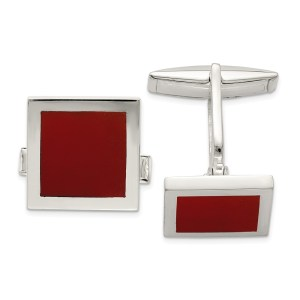 Sterling Silver, square, cuff links, with an inlay of red agate with a polish finish.