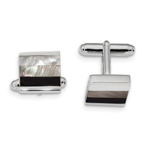 Sterling Silver, rhodium plated, with inlays of onyx and white & gray mother of pearl cuff links with a polish finish