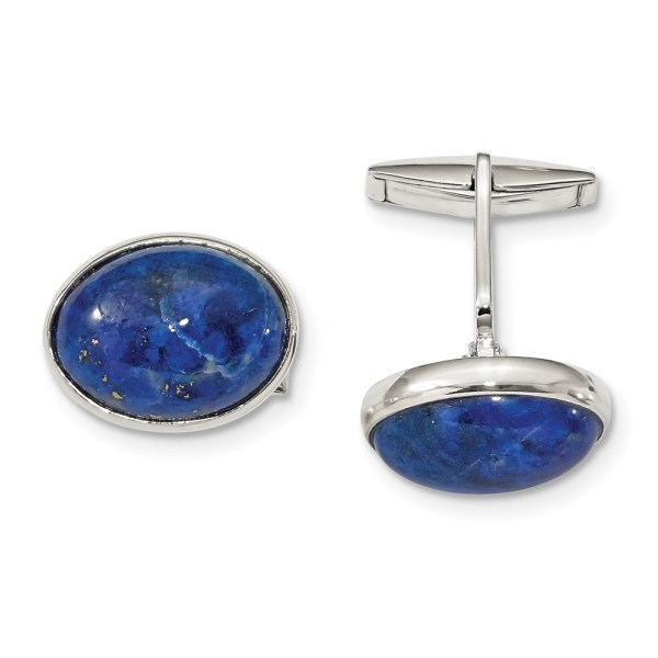 Sterling Silver, with a bezel set, oval cabochon blue lapis, cuff links with a polish finish.