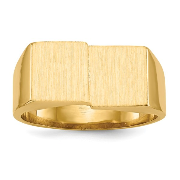 Men's 14 kt. yellow gold, signet ring that measures 10.00 mm X 17.00 mm. The face of this signet ring is bi-level with a satin polished finish. The band of this signet ring is tapered and has an open back. This signet ring is engravable.