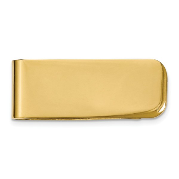 Stainless Steel,Yellow IP-plated, 47 mm X 17 mm, rectangular money clip with a polished finish