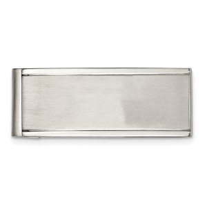 Stainless Steel, 44 mm X 18 mm, framed, rectangular money clip with a brushed and polished finish