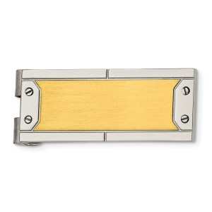 Stainless Steel, Yellow IP-plated, 40 X 18 mm, rectangular money clip, accented by four end screws and with a brushed and polished finish
