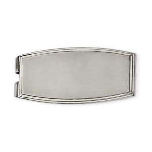 Stainless Steel, 48 mm X 22 mm, curved, rectangular, money clip with a flat grooved edge and with a brushed and polished finish
