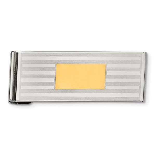 Stainless Steel, 47 mm X 19 mm, rectangular money clip with stripes and accented by a centered yellow IP-Plated rectangle and with a brushed and polished finis