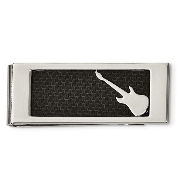Stainless Steel, rectangular money clip with an inlay of black carbon fiber and accented by stainless steel guitar with a polished finish.