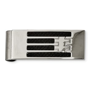 Stainless Steel, rectangular money clip accented by four strips of black carbon fiber inlay and with a polished finish.