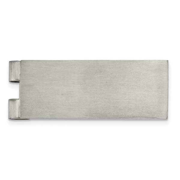 Stainless Steel, 52.02 mm X 20 mm, rectangular, with flat edges, money clip with a brushed finish. This money clip is engravable.