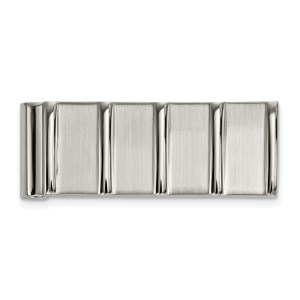 Stainless Steel, 52.57 mm X 19 mm, rectangular money clip accented by five vertical grooves and with a brushed and polished finish.