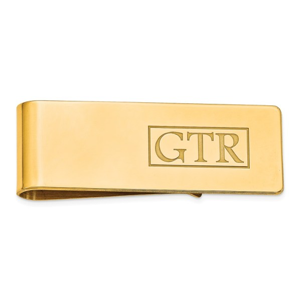 Gold Plated, sterling silver, 54 mm X 19 mm, rectangular money clip accented by a laser designed, monogram with recessed letters and with a polished finish.