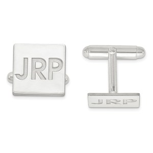 Sterling Silver Rhodium plated 15 mm square Monogram cuff links with recessed laser designed letters with a polish finish.
