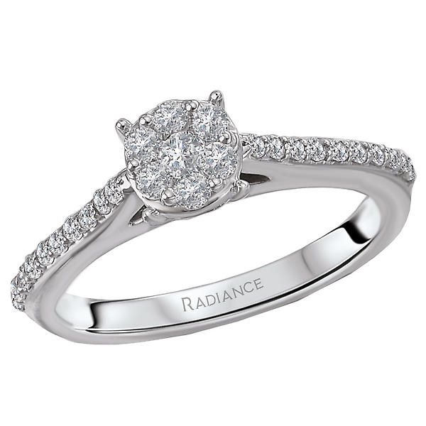 This stylish ring features a shank lined with faceted sparkling diamonds that surrounds the round cluster center set in high polished 14k white gold