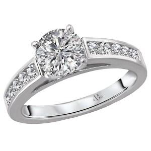 14K White Gold Channel Set Semi-Mount Diamond Ring