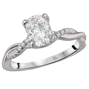 14K White Gold Twisted Semi-Mount Diamond Ring