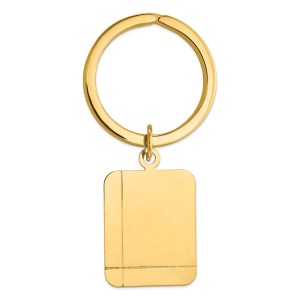 14 kt. yellow gold, 26 mm x 20 mm, rectangle with two asymmetrical laser etched lines, disc key ring with a polish finish.