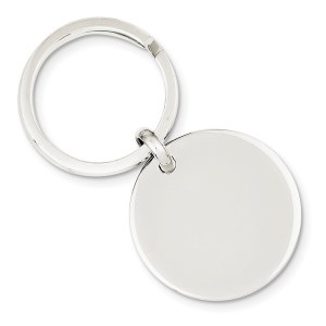 Sterling Silver, rhodium plated, 30 mm round, key ring with a polish finish