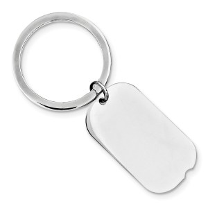 Sterling Silver, rhodium plated, 35 mm X 18 mm, dog tag, key chain with a polish finish