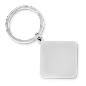 Sterling Silver, rhodium plated, 36 mm X 36 mm, diamond, key chain with a polish finish