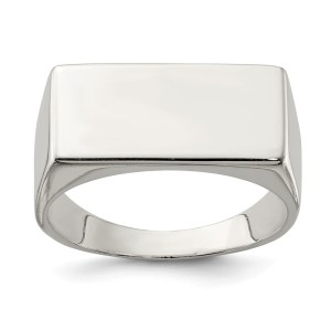 Men's sterling silver, closed back, rectangular shaped, signet ring that measures 9 mm X 19 mm. This ring has a polished finish and is engravable.