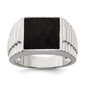 Men's sterling silver, rhodium-plated, square onyx ring. This ring has textured sides and a polished finish