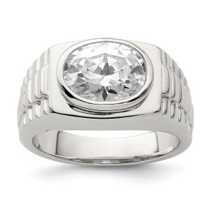 Men's sterling silver, rhodium-plated ring with a bezel set, oval, cubic zirconia. This ring has textured sides and a polished finish.