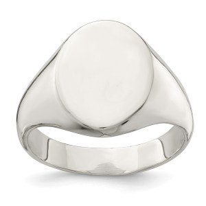 Men's sterling silver, closed back, oval shaped signet ring that measures 15 mm X 12 mm. This ring has a polished finish and is engravable.