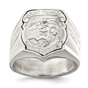 Men's Sterling Silver Saint Michael Ring with an open back and with a satin & polished finish.