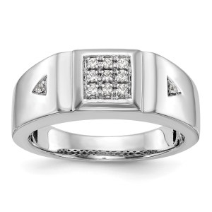 Men's 14 kt. white gold band with a centered, square shaped, cluster of nine, prong set, round diamonds that all together weigh 0.125 twt. The center stones are accented one each side by a, prong set, round diamond. This ring has a rhodium-plated and polished finish.