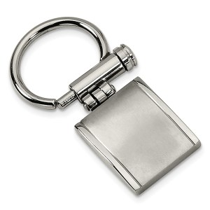 Stainless steel, 25 mm X 22 mm, half framed, rectangle, key chain with a brushed and polished finish.
