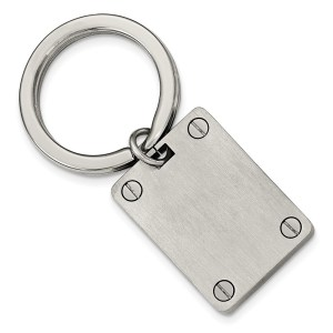 Stainless Steel, 32 mm X 25 mm, rectangle key ring with screw like accents and a polished and brushed finish