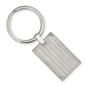 Stainless Steel, 32 mm X 20 mm, rectangle, with a striped texture, key ring with a polished finish.