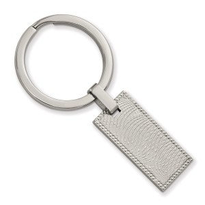 Stainless Steel, 56.1 mm X 28.2mm, textured rectangle with a milgrain border, key chain with a polished finish.