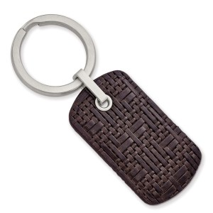 Stainless Steel, 79.64 mm X 30.14 mm, dog tag style, brushed, brown, woven design and stitched leather key ring with a polished finish.