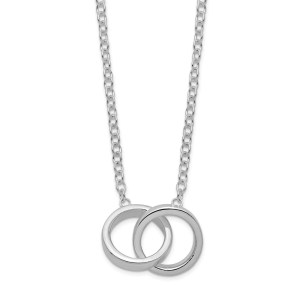 Ladies sterling silver, with double rings necklace with a polished finish and is accented by a sterling silver cable chain that measures 18 inches