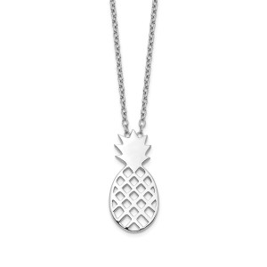 Ladies sterling silver pineapple pendant that is accented by a 18 inch sterling silver cable chain.