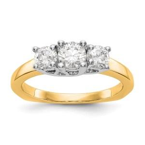 14K White Gold 3-Stone Diamond Engagement Ring Mounting