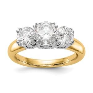 14K Two-tone 3-Stone Diamond Semi-Mount Engagement Ring